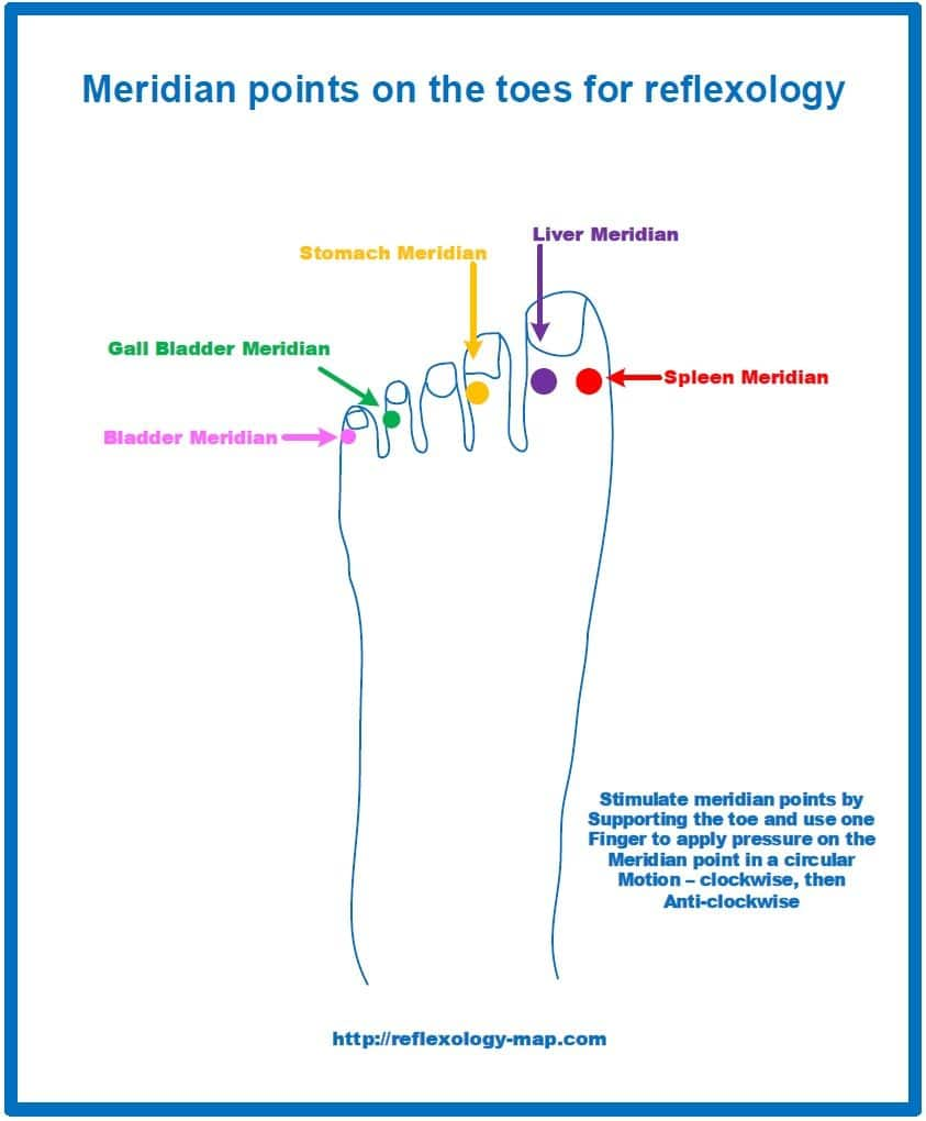 Reflexology Meridian points on toes